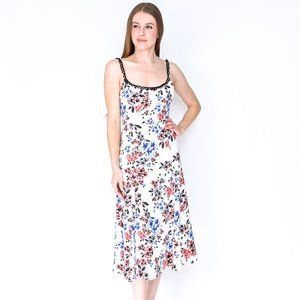 NBD Spring Bloom White Satin Secora Midi Dress